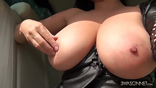 Despondent railway carriage ride - Striptease handy asleep on the job - busty brunette mom drives topless
